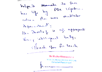 Letter of appreciation from a neonatologist